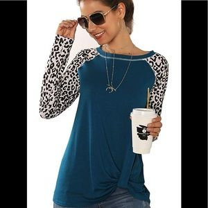 2x Women's Leopard Long Sleeve shirt blouse blue